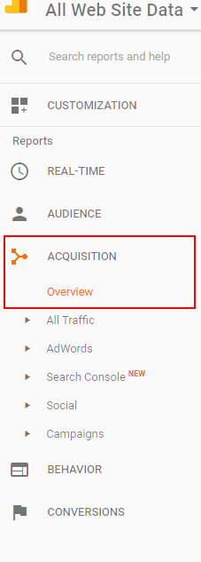 Google Analytics Acquisition Overview Report - Step 1