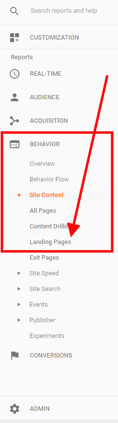 Google Analytics Landing Pages Report - Step 1