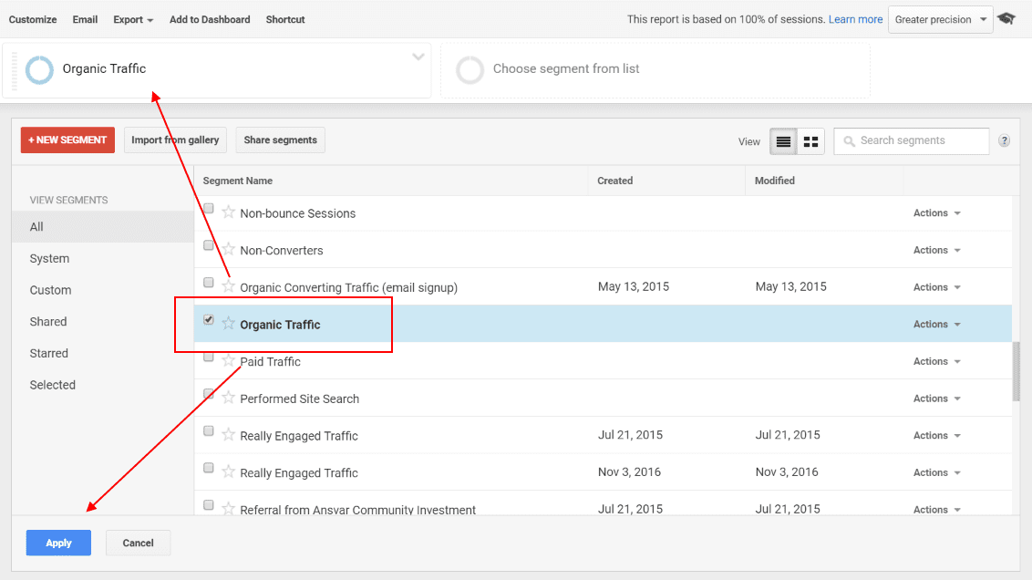 How to use the Segments report in Google Analytics - Step 2