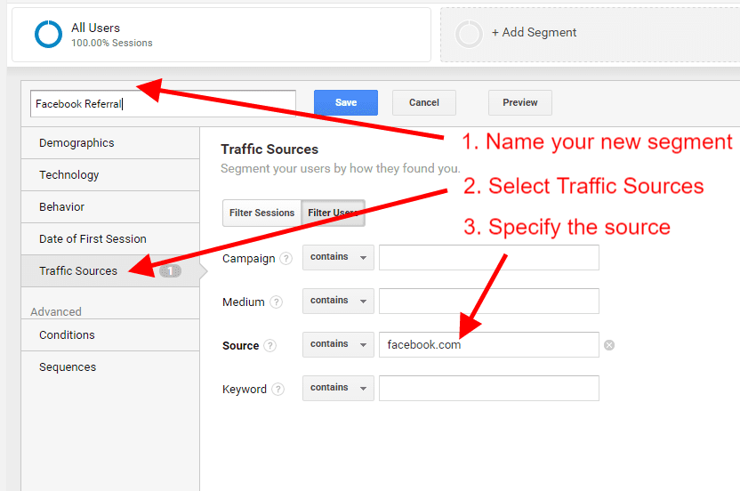 How to use the Segments report in Google Analytics - Step 6